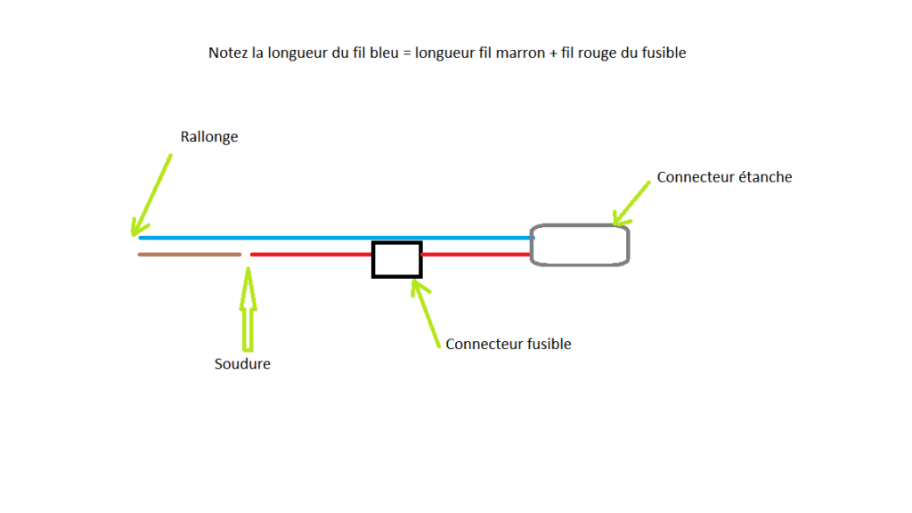 Shéma de principe de la connection du fusible au connecteur male et à la rallonge